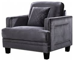 Black Velvet Accent Chair Parent Transitional Armchairs And Accent Chairs By Meridian