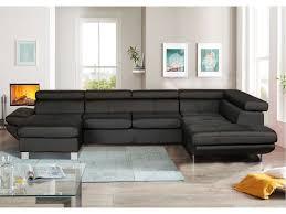 canapé d angle fixe panoramique 7 places lofty coloris noir en pu