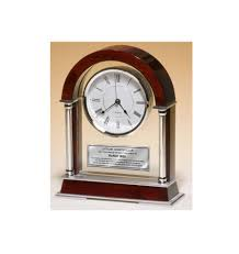 anniversary clocks engraved large arch cherry mantle clock with chrome columns and engraving plate