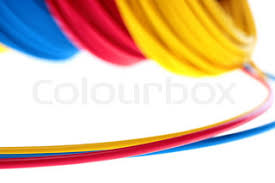 electric wires of red yellow and dark blue colour are winded in