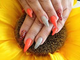 stiletto nails with orange gel polish nail designs for you