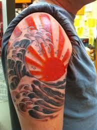 japanese rising sun japanese sun and wave ink