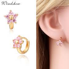 children s hoop earrings gold color 5 pink cz crystals flower circle loop huggies