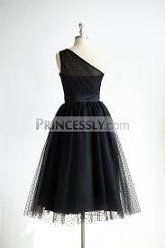 one shoulder black polk dot tulle short tea length prom party dress
