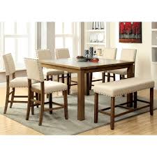 furniture of america veronte stone top counter height dining table