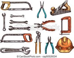 vectors of hand tool work instrument isolated sketches hand