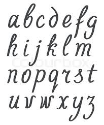 hand lettering simple alphabet set lowercase black letters on