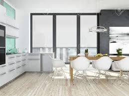 plancher cuisine bois intérieur de cuisine blanc et vert moderne avec plancher en bois