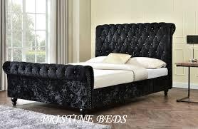 Chesterfield Sleigh Bed Slim Chesterfield Sleigh Bed Frame Only Crushed Velvet Sleigh