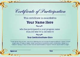 certificate of participation template word participation