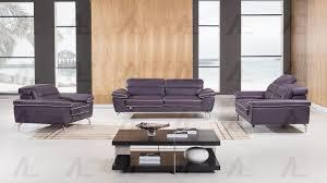 3 pcs adjustable headrest purple italian full leather sofa set