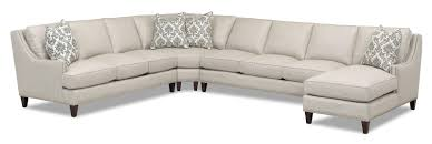 Grey Chaise Sectional Klaussner Duchess Transitional 4 Piece Sectional With Chaise