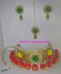 gujarati earrings multicor fabric wool handmade gujarati choker necklace size free