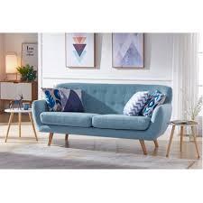 canape 3 places tissus canapé 3 places tissu bleu pastel pieds bois scandinave 186 cm