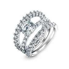 overstock wedding ring sets sterling silver cut cz stackable engagement ring set