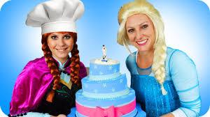 frozen elsa u0026 frozen anna cooking frozen elsa cake spiderman