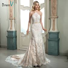 halter neck wedding dresses aliexpress buy dressv ivory halter neck lace mermaid wedding