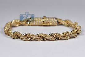 rope bracelet images Mens diamond rope bracelet solid 10k yellow gold 8 12 ct 7 mm 8 quot jpg