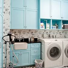 tiffany blue paint color transitional laundry room benjamin