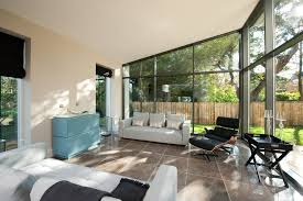 Sunroom Sofas Ceiling Angle Sunroom Modern With Mono Pitch Zinc Roof Polyester Sofas