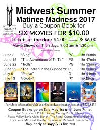 summer matinee madness 2017 coupon books midwest theater