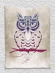 Owls Home Decor Amazon Com Owl Tapestry Owls Home Decor Night Owl On Marsala Tree
