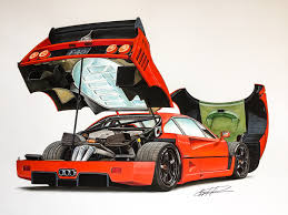 ferrari laferrari sketch ferrari f40 lightweight lm wing drawing supercar by filo
