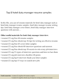 top 8 hotel duty manager resume samples 1 638 jpg cb u003d1428498887