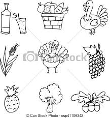 doodle of draw thanksgiving set eps vector search clip
