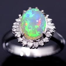 opal stone rings images Beautiful crystal opal stone set in platinum ring jpg