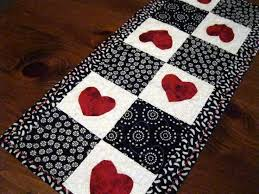 valentine s day table runner trail of hearts quilted valentine table runner red hearts on gray