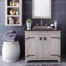 classic bathroom with light grey wood bathroom vanity and