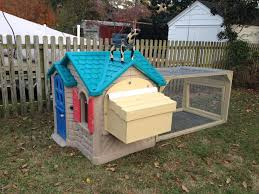 little tykes playhouse chicken coop with a scarecrow i mean