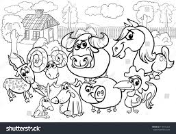 farm animal coloring book black white cartoon illustration country rural stock illustration