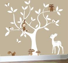 White Tree Wall Decal Nursery Not Sure Why There S A Monkey W The Forest Animals But It S