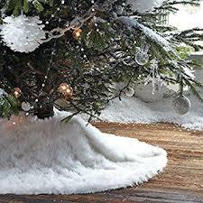 christmas tree skirt plush shaggy faux fur white