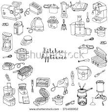 Electronics Kitchen Appliances - hand drawn doodle kitchen appliance vector illustration cartoon