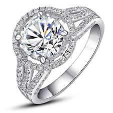 beautiful women rings images Beautiful 2ct certified 14k white gold finger ring synthetic jpg