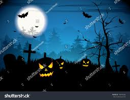 halloween night pumpkins on graveyard stock vector 109746596