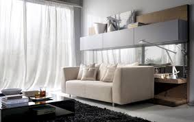 minimalist living room interior with beige sofa glass coffee table