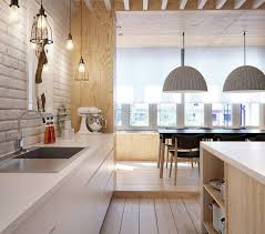 under upper cabinet lighting design of the contemporary kitchen in light color without upper