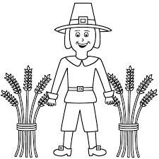 thanksgiving pilgrams pilgrim with wheat sheaves coloring page thanksgiving