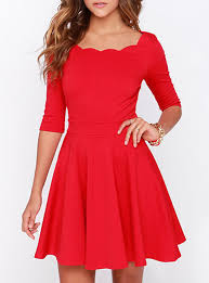 fit and flare midi dress three quarter sleeves scalloped neckline