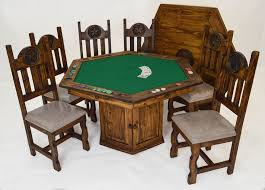 Poker Table Chairs Rustic Dining Furniture Magnolia The Woodlands