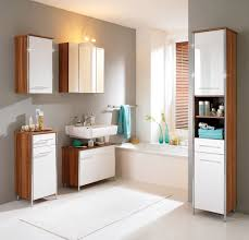 Bathroom Cabinet Design by Fancy Design Ideas Using Cream Glass Tile Backsplash And L Shaped