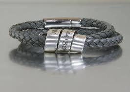 engraved bracelets personalised leather bracelets stackable birthstone rings