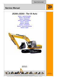 jcb js200 auto tier3 tracked excavator service repair manual sn