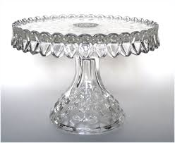 Crystal Pedestal Cake Stand 1930 U0027s Fostoria American Crystal Glass Round Pedestal Cake