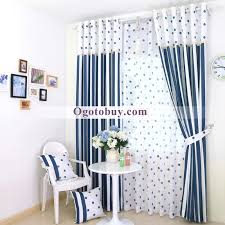 Blue And White Striped Print Room Darkening Kids Room Curtains - Room darkening curtains for kids