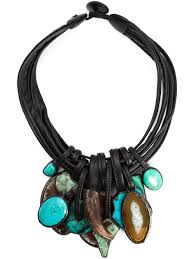 stone pendant leather necklace images Lyst monies stone and horn pendant necklace in blue jpeg